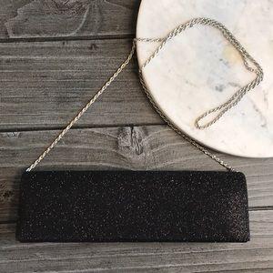 Black Sleek Timeless Versatile Long Chain Clutch